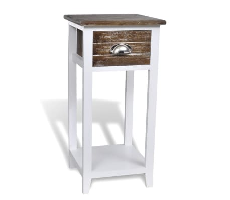 vidaXL Nightstand with 1 Drawer Brown and White[2/6]