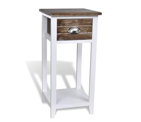 acheter vidaxl table de chevet avec 1 tiroir marron et blanc pas cher. Black Bedroom Furniture Sets. Home Design Ideas