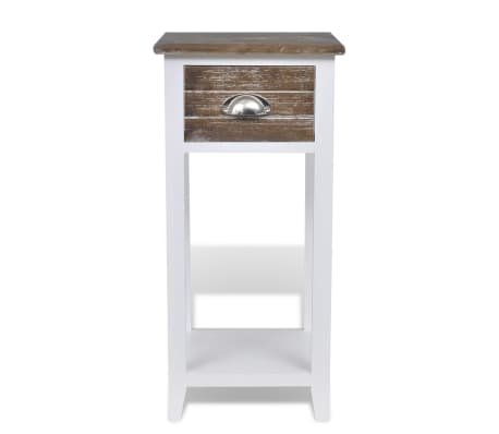 vidaXL Nightstand with 1 Drawer Brown and White[5/6]