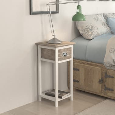 vidaXL Nightstand with 1 Drawer Brown and White[3/6]