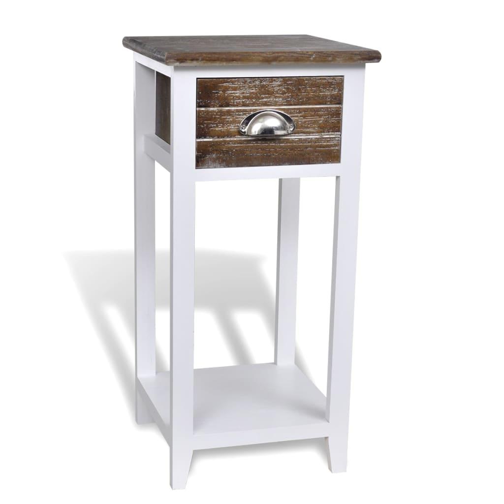 Noční stolek / Telefonní stolek s 1 zásuvkou hnědý / bílý