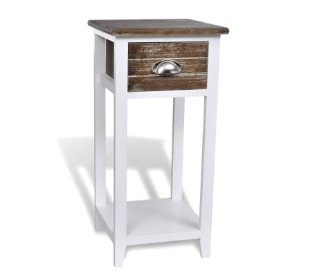 vidaXL Nightstand with 1 Drawer Brown and White[1/6]