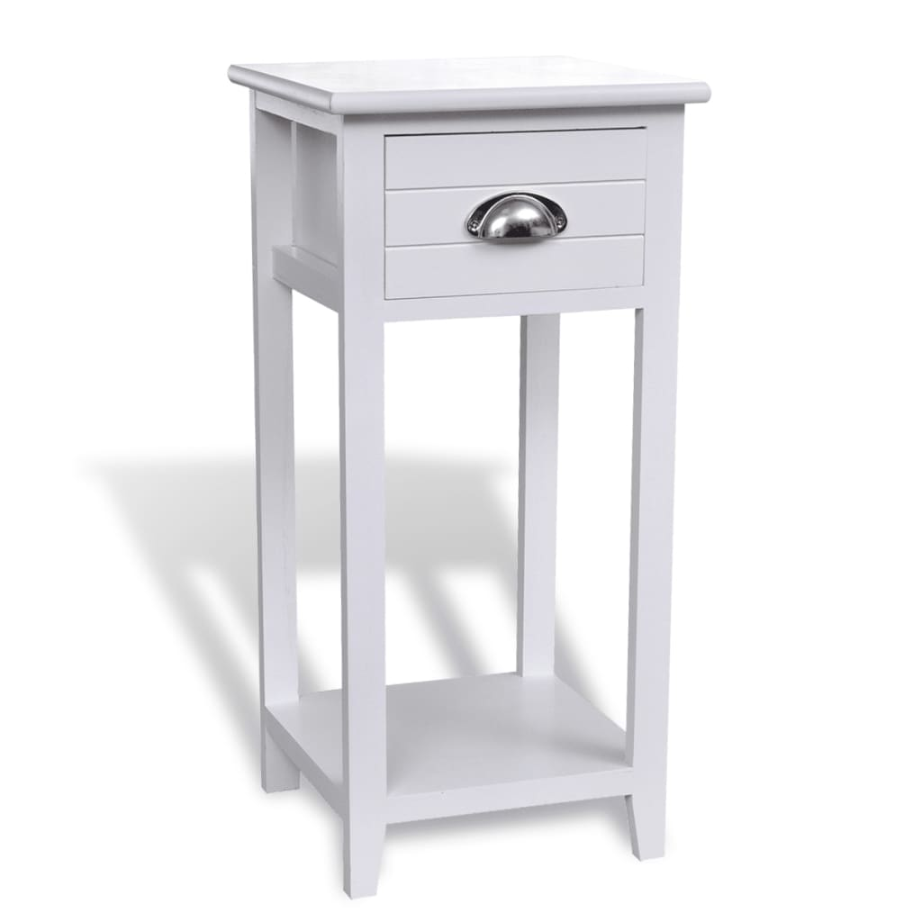 Noční stolek / Telefonní stolek s 1 zásuvkou bílý