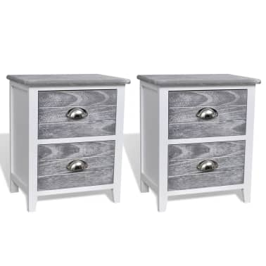 vidaXL Nightstand 2 pcs with 2 Drawers Grey and White[2/7]