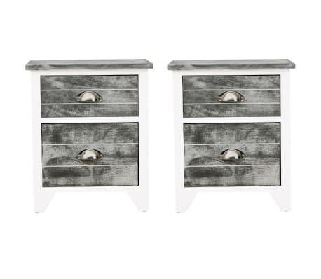 vidaXL Sängbord 2 st med 2 lådor grå och vit[3/7]