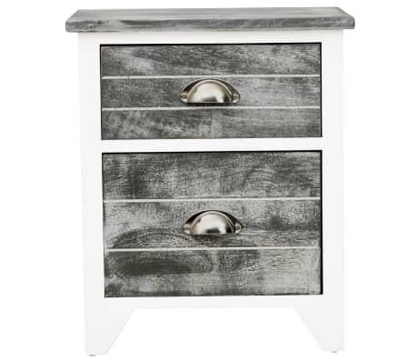 vidaXL Sängbord 2 st med 2 lådor grå och vit[5/7]