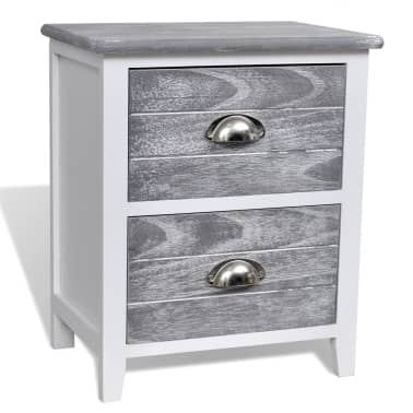 vidaXL Nightstand 2 pcs with 2 Drawers Grey and White[4/7]