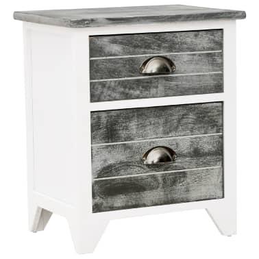 vidaXL Sängbord 2 st med 2 lådor grå och vit[4/7]
