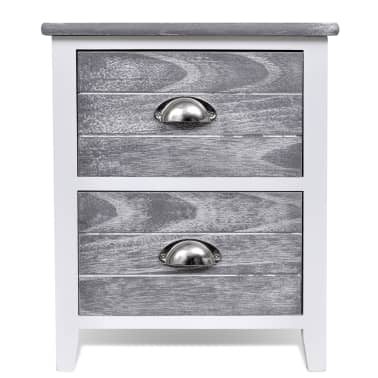 vidaXL Nightstand 2 pcs with 2 Drawers Grey and White[5/7]