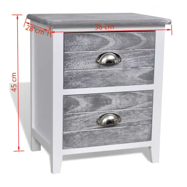 vidaXL Nightstand 2 pcs with 2 Drawers Grey and White[7/7]