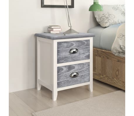 vidaXL Nightstand 2 pcs with 2 Drawers Grey and White[1/7]