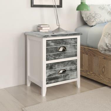vidaXL Sängbord 2 st med 2 lådor grå och vit[1/7]