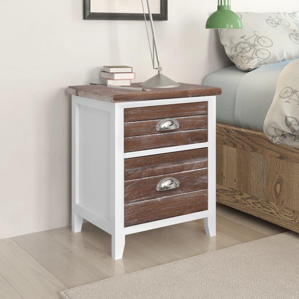 Noční stolek / Telefonní stojan se 2 zásuvkami hnědý / bílý sada 2 ks