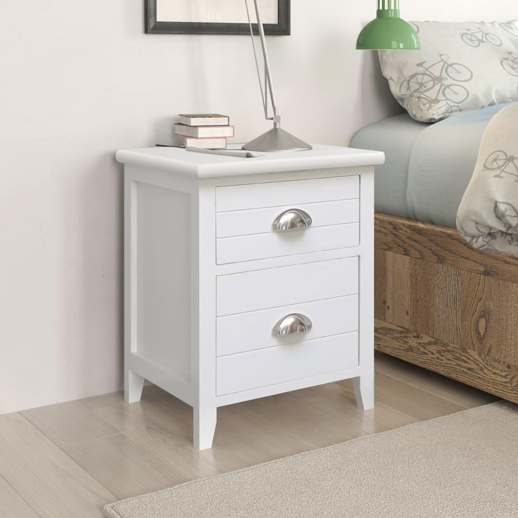 Noční stolek / Telefonní stojan se 2 zásuvkami bílý sada 2 ks