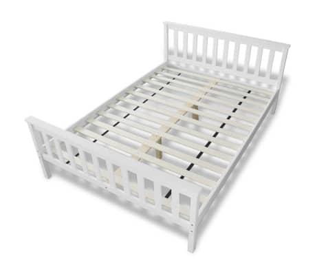 vidaxl bett mit matratze 140 200 cm massives kiefernholz wei g nstig kaufen. Black Bedroom Furniture Sets. Home Design Ideas