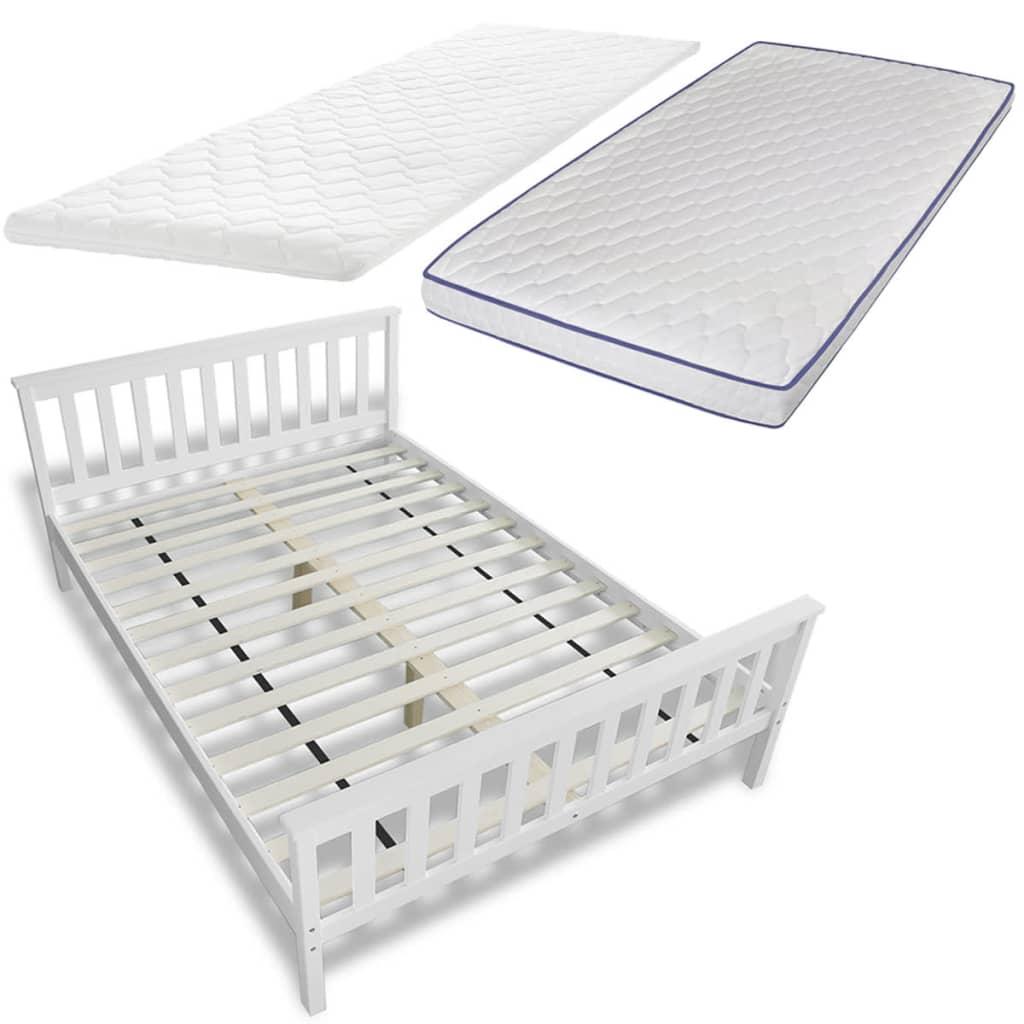 Afbeelding van vidaXL Bed 140 cm met traagschuim matras en traagschuim topdekmatras (wit)