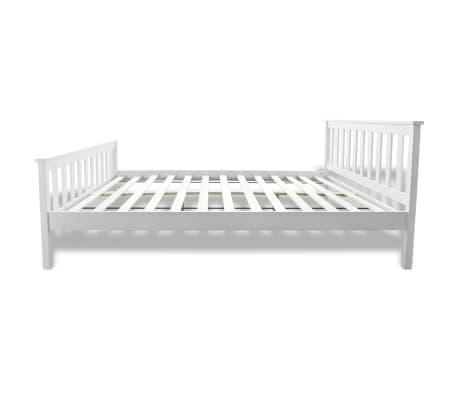 Cama blanca de madera de pino 140 cm colch n for Camas blancas de madera