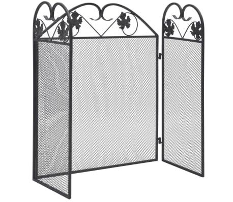 vidaXL Zaslon za kamin 3-delni železo črn[2/5]