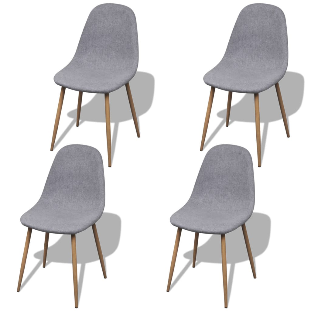 vidaXL Jídelní židle 4 ks bez područek železné nohy textil světle šedé
