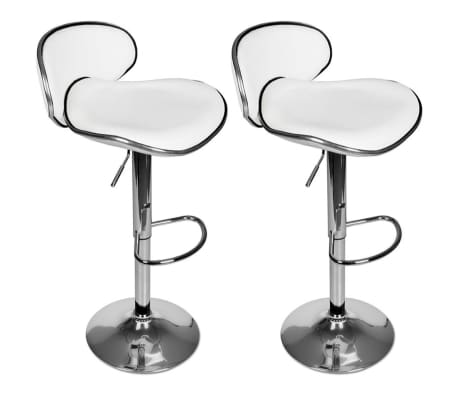 Set of 2 White Adjustable Height Swivel Bar Stool[1/7]