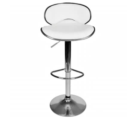 Set of 2 White Adjustable Height Swivel Bar Stool[3/7]