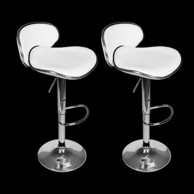 Set of 2 White Adjustable Height Swivel Bar Stool[2/7]