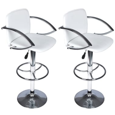 Set of 2 White Bar Stool with Round Footrest[1/6]