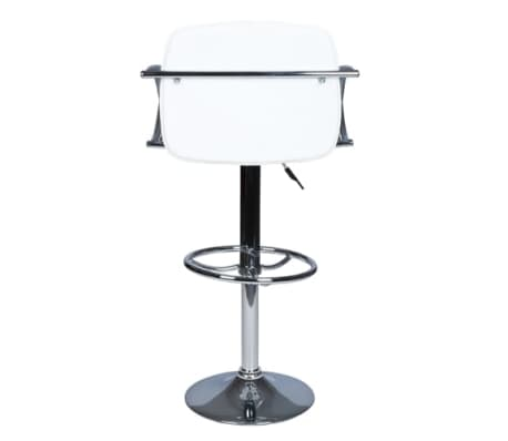 Set of 2 White Bar Stool with Round Footrest[3/6]