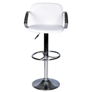 Set of 2 White Bar Stool with Round Footrest[2/6]