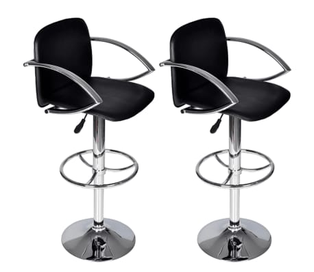 Set of 2 Black Bar Stool with Round Footrest[1/6]