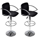Set of 2 Black Bar Stool with Round Footrest
