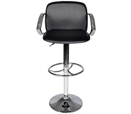 Set of 2 Black Bar Stool with Round Footrest[2/6]