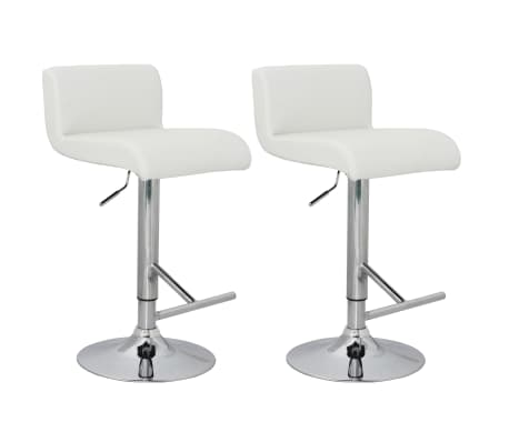 Wondrous Set Of 2 White Bar Stool With T Bar Footrest Caraccident5 Cool Chair Designs And Ideas Caraccident5Info