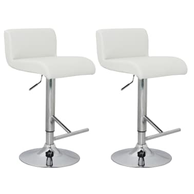 Set of 2 White Bar Stool with T-bar Footrest[1/4]