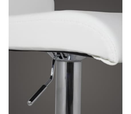 Set of 2 White Bar Stool with T-bar Footrest[3/4]
