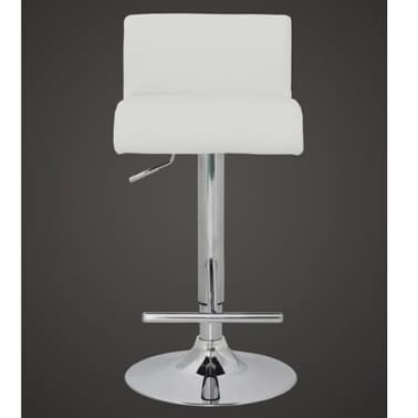 Set of 2 White Bar Stool with T-bar Footrest[2/4]