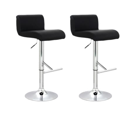 Set of 2 Black Bar Stool with T-bar Footrest[1/4]