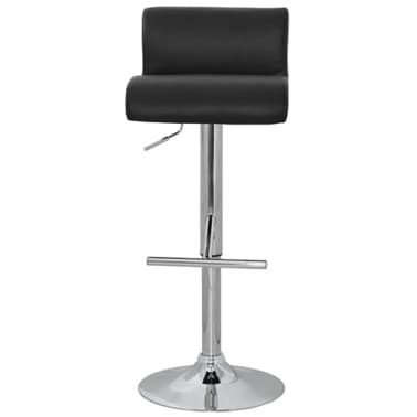 Set of 2 Black Bar Stool with T-bar Footrest[2/4]