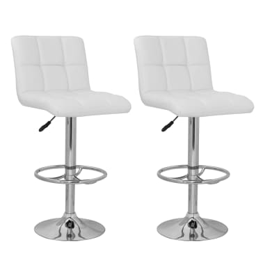 Set of 2 White Armless Bar Stool with High Backrest[1/4]