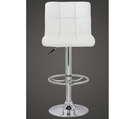 Set of 2 White Armless Bar Stool with High Backrest[2/4]