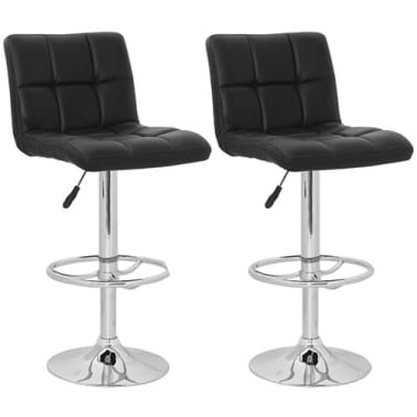 Set of 2 Black Armless Bar Stool with High Backrest[1/4]