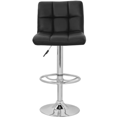 Set of 2 Black Armless Bar Stool with High Backrest[2/4]