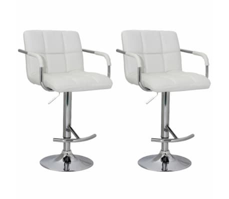 Set of 2 White Bar Stool with Iron Armrest and High Backrest[1/5]