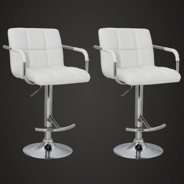 Set of 2 White Bar Stool with Iron Armrest and High Backrest[2/5]