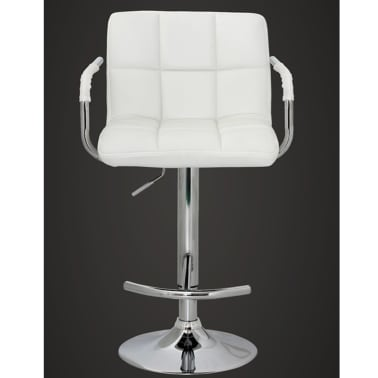 Set of 2 White Bar Stool with Iron Armrest and High Backrest[3/5]