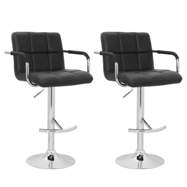 Set of 2 Black Bar Stool with Iron Armrest and High Backrest[1/4]