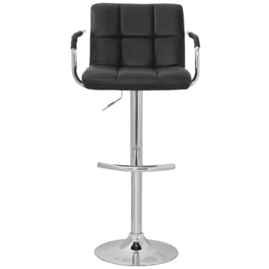 Set of 2 Black Bar Stool with Iron Armrest and High Backrest[2/4]