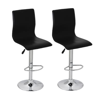 Set of 2 Black Artificial Leather Bar Stool with High Backrest[1/4]