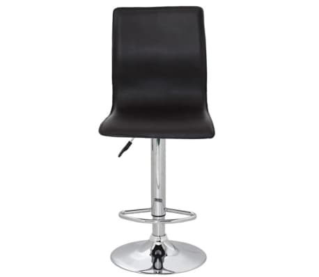 Set of 2 Black Artificial Leather Bar Stool with High Backrest[2/4]