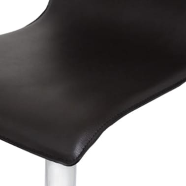 Set of 2 Black Artificial Leather Bar Stool with High Backrest[3/4]